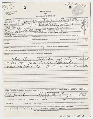 Primary view of object titled '[Arrest Report for Sergio Arcacha]'.