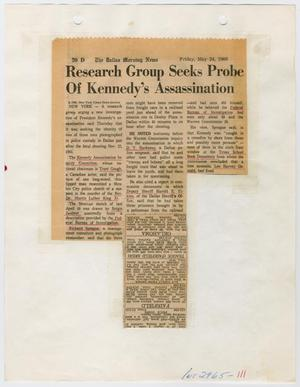 Primary view of object titled '[Dallas Morning News Clipping, May 24, 1968]'.