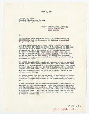 Primary view of object titled '[Report to W. F. Dyson by D. K. Rodgers and J. F. Brumit, March 10, 1967 #2]'.