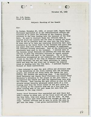 Primary view of object titled '[Report from O. A. Jones to Chief J. E. Curry, November 26, 1963]'.