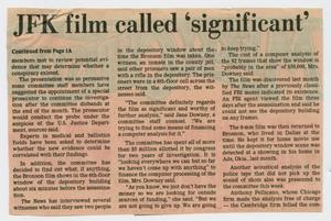 [Clipping: JFK film called 'significant']