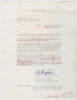 Primary view of object titled '[Report to W. F. Dyson by L. D. Stringfellow and J. F. Brumit #2]'.