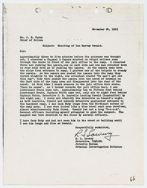 Primary view of object titled '[Report from R. L. Lowery to Chief J. E. Curry, November 24, 1963 #1]'.