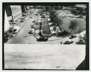 Primary view of object titled '[Aerial View from Book Depository]'.