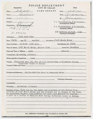 Primary view of object titled '[Case Report for Prior Arrest of Jack Ruby]'.