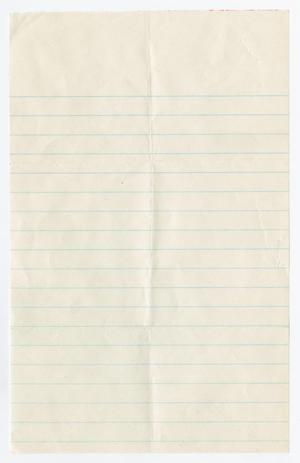 Primary view of object titled '[Blank Piece of Lined Paper]'.