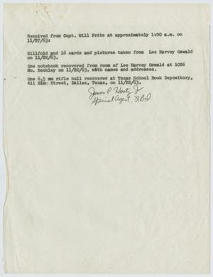 Primary view of object titled '[Acknowledgment of Receipt by James P. Hosty, Jr. #1]'.