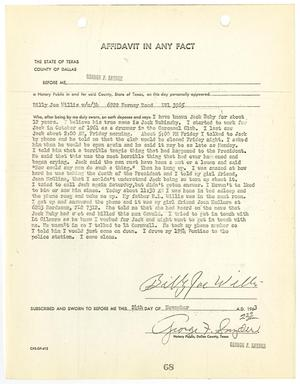 Primary view of object titled '[Affidavit In Any Fact by Billy Joe Willis #1]'.
