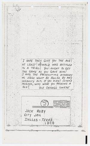 Primary view of object titled '[Letters Sent to Jack Ruby in Dallas County Jail]'.