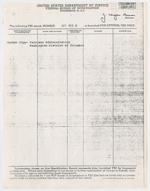[Cover page of a Federal Bureau of Investigation information report]