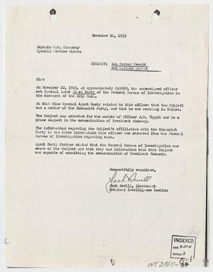 Primary view of object titled '[Report to W. P Gannaway by Jack Revill, November 22, 1963 #2]'.