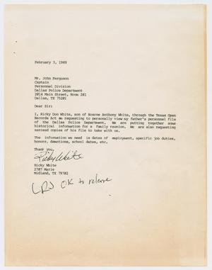 Primary view of object titled '[Letter to John Ferguson from Ricky White, February 3, 1989]'.