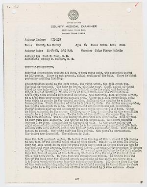 Primary view of object titled '[Autopsy Report for Lee Harvey Oswald]'.