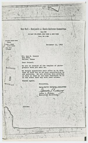 Primary view of object titled '[Letter to Lee Harvey Oswald from James J. Tormey, December 13, 1962]'.