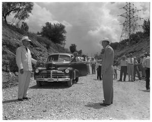 Primary view of object titled 'Low water bridge at Austin dam, Mayor Emma Long with dignitaries'.