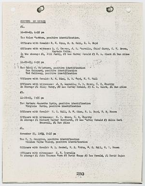 Primary view of object titled '[Report listing personnel involved in the arraignments of Lee Harvey Oswald and Jack Ruby #2]'.