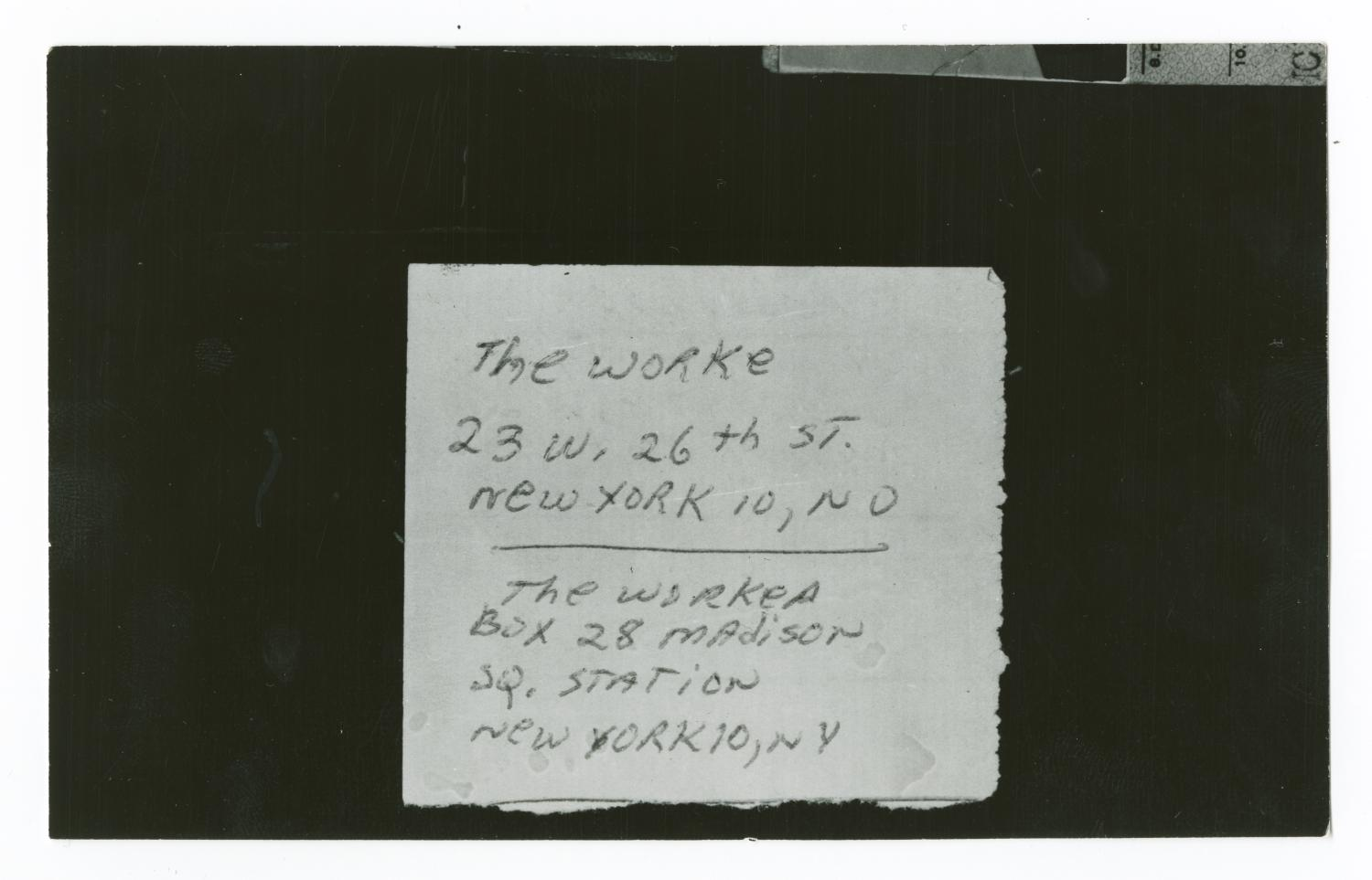 "[Address of ""The Worker""]                                                                                                      [Sequence #]: 1 of 4"