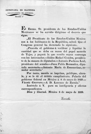Lorenzo de Zavala copy of presidential decree May 8th 1829