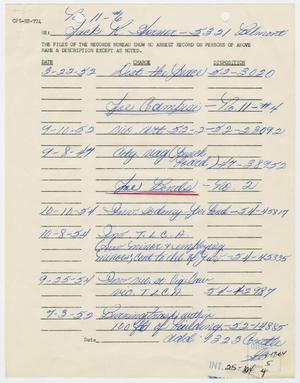 Primary view of object titled '[Arrest Records for Jack  Horner, Rocky Roscoe Robinson, Ed McLemore and Chris Thomas Semos]'.