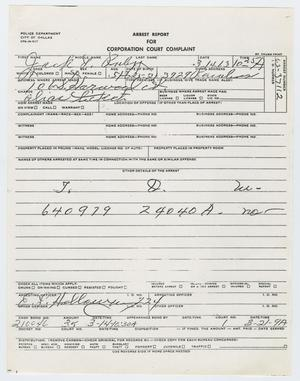 Primary view of object titled '[Arrest Report for Jack Ruby]'.