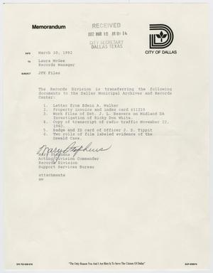 Primary view of object titled '[Memo to Laura McGee by Mary Stephens, March 10, 1992]'.