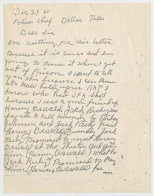 [Letter from an unknown author to the Dallas Police Chief, December 29, 1964 #2]