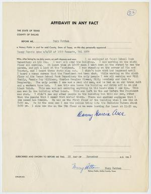 Primary view of object titled '[Affidavit in Any Fact - Statement by Danny Garcia Arce, November 22, 1963 #1]'.