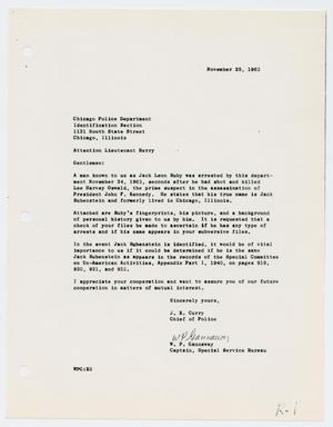 Primary view of object titled '[Letter to Lieutenant Berry from J. E. Curry and W. P. Gannaway, November 25, 1963]'.