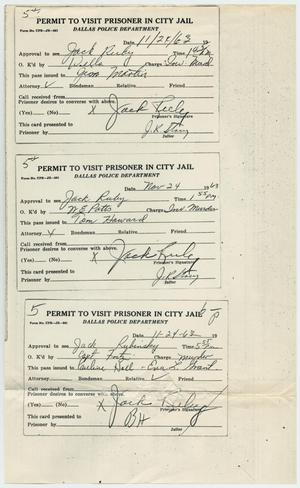 Primary view of object titled '[Visitors Permits to See Jack Ruby, November 24, 1963]'.