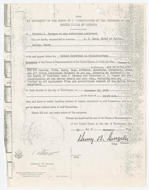 Primary view of object titled '[Subpoena for D. A. Byrd #1]'.