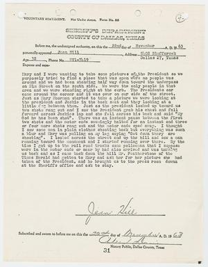 Primary view of object titled '[Voluntary Statement by Jean Hill #2]'.