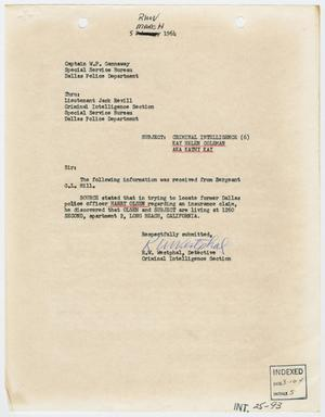 [Report to W. P. Gannaway by R. W. Westphal, March 5, 1964]