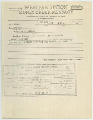 Primary view of object titled '[Telegram to Jack Ruby from Frank Dragotta, November 24, 1963 #1]'.