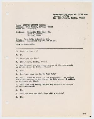 Primary view of object titled '[Interrogation of Curtis Leonard Warner, February 2, 1964]'.