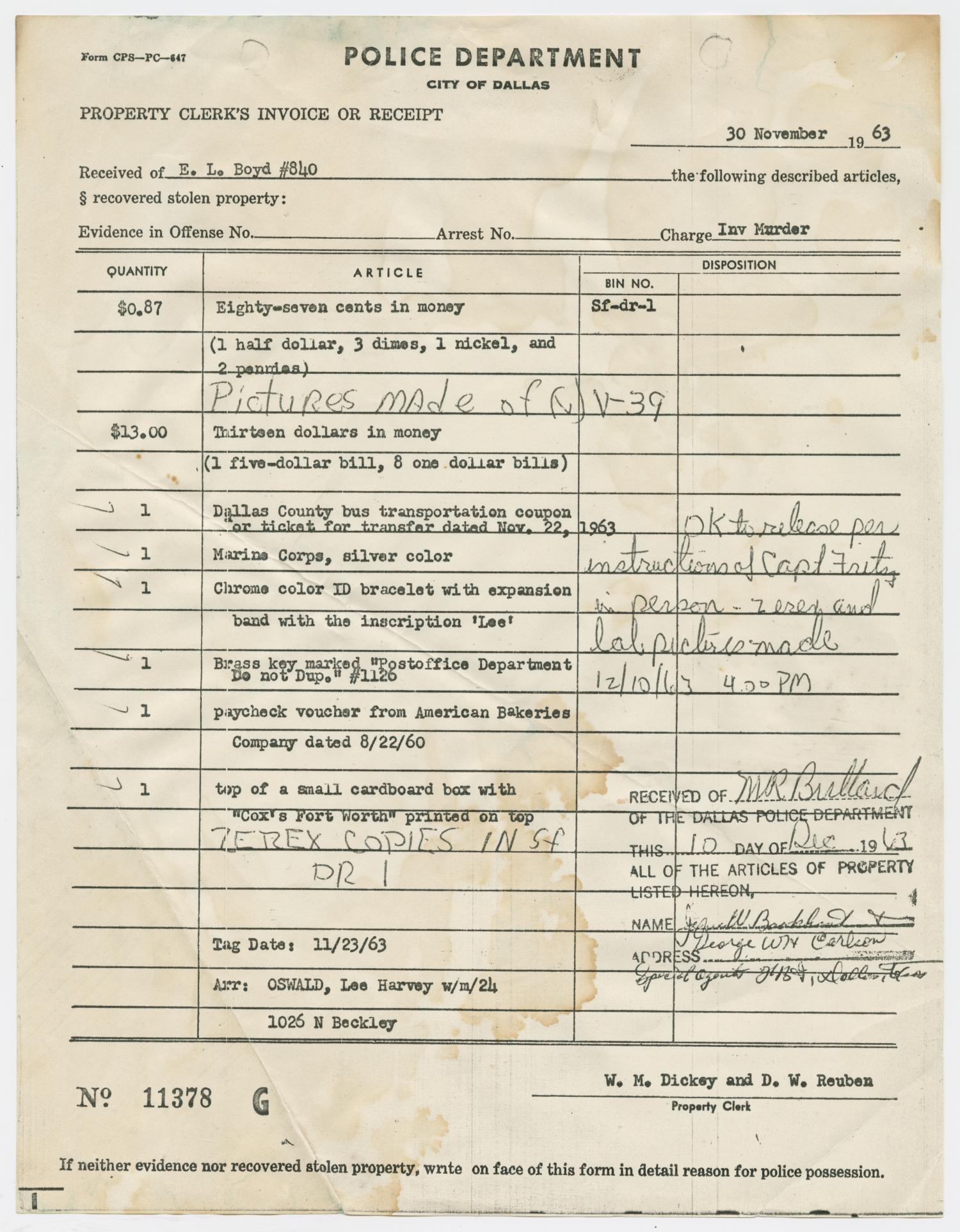 [Property Clerk's Receipt of Items Belonging to Lee Harvey Oswald #1]                                                                                                      [Sequence #]: 1 of 2