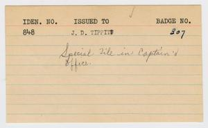 Primary view of object titled '[Personnel Record for J. D. Tippit]'.