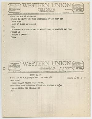 Primary view of object titled '[Telegrams to Jack Ruby from Joseph B. Lamberta and Jack Jordan, November 24, 1963 #2]'.