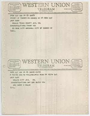 Primary view of object titled '[Telegrams to Jack Ruby from Ed Kane and Mrs. Harry C. Walsh, November 24, 1963 #2]'.