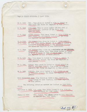 Primary view of object titled '[Report by Sidney Siedband, April 3, 1959]'.
