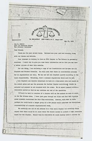 [Letter to Lee Harvey Oswald from Fair Play for Cuba Committee, May 29, 1963]