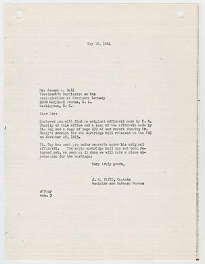 Primary view of object titled '[Letter from J. W. Fritz to Joseph A. Ball, May 18, 1964 #3]'.