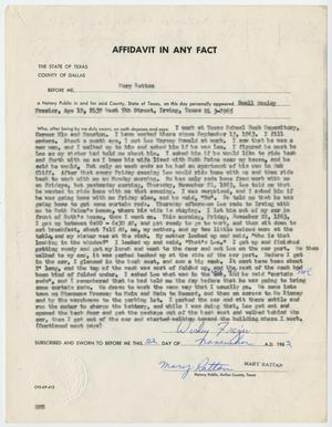 Primary view of object titled '[Affidavit in Any Fact - Statement by Buell Wesley Frazier, November 22, 1963 #3]'.