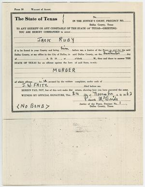 Primary view of object titled '[Warrant of Arrest for Jack Ruby by Pierce McBride, November 24, 1963 #1]'.