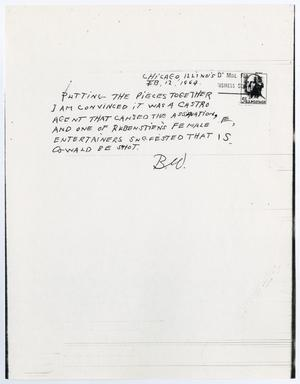 Primary view of object titled '[Postcard suggesting a Cuban conspiracy]'.