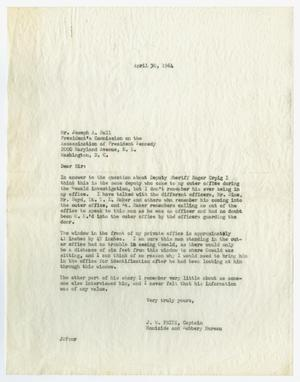 Primary view of object titled '[Letter from J. W. Fritz to Joseph A. Ball, April 30, 1964 #1]'.