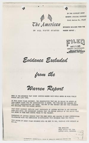 Primary view of object titled '[Handbill of Evidence Excluded from the Warren Report #2]'.