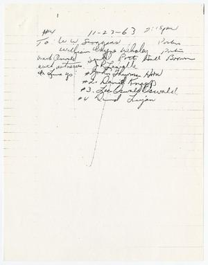 [Handwritten note concerning a line-up with Lee Harvey Oswald]