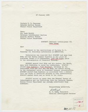 Primary view of object titled '[Report to W. P. Gannaway by D. N. Boyd, January 28, 1964 #1]'.