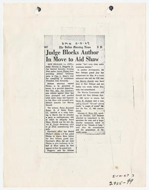 [Newspaper Clipping: Judge Blocks Author In Move to Aid Shaw #1]
