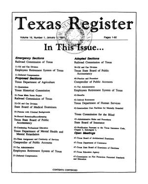 Primary view of object titled 'Texas Register Volume 16, Number 1, Pages 1-62, January 1, 1991'.